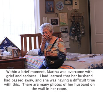 Martha was quickly griefstricken and lonely