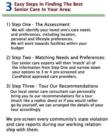 Care Steps for finding assisted living