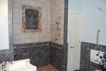 shower and tiled walls