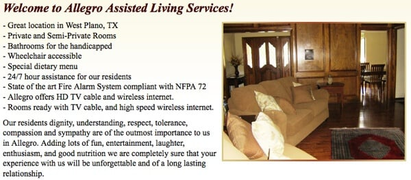 Allegro assisted living services