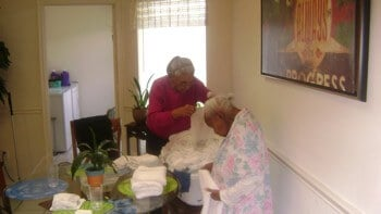 resident getting haircut
