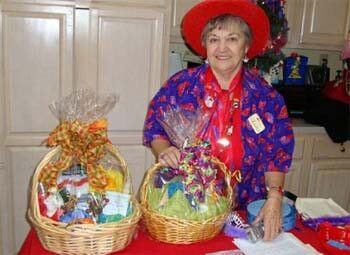 senior at the Carolina Inn with baskets