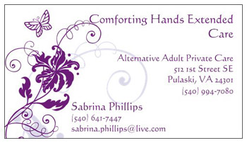 Comforting Hands Assisted Living Business Card