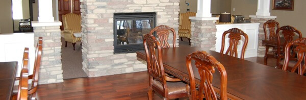 Cranberry Park of Clio - dining and fireplace area