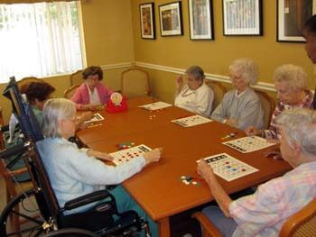 group of residents playing Bingo!