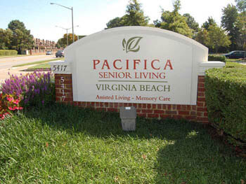 Pacifica Virginia Beach front sign of facility and entryway