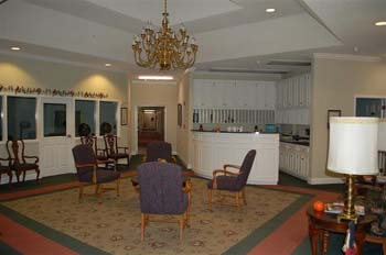 This is a view of the interior of this residence for seniors, with areas for socialization and activities