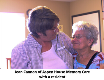 Jean Cannon with a resident of the facility