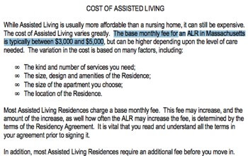 Assisted Living Consumer Guide for MA