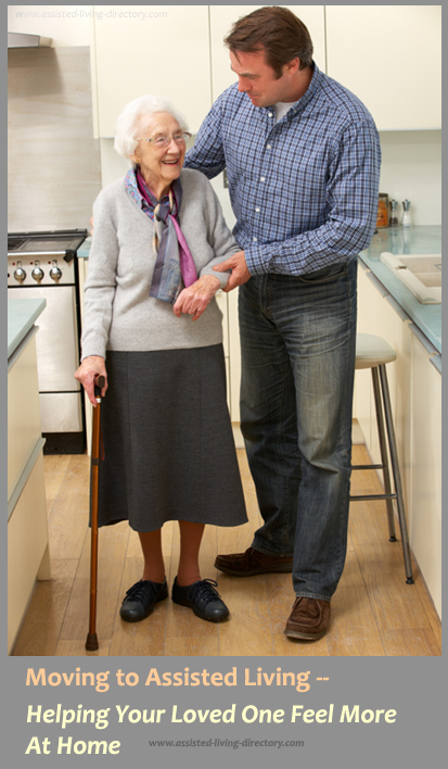 Moving To Assisted Living senior and son in a facility
