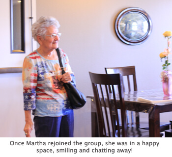 resident was happy once she rejoined the group