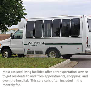 A shuttle used by an assisted living facility for transportation