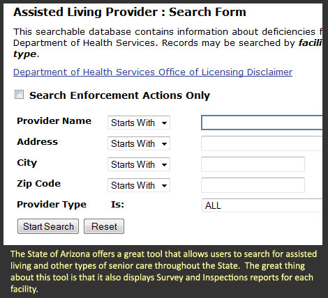 Arizona Senior Care Search Tool