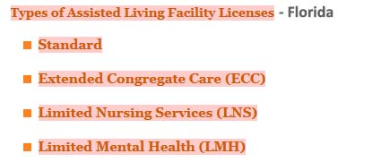 4 Types Of Assisted Living Facility Licenses In Florida