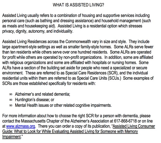 How MA defines assisted living