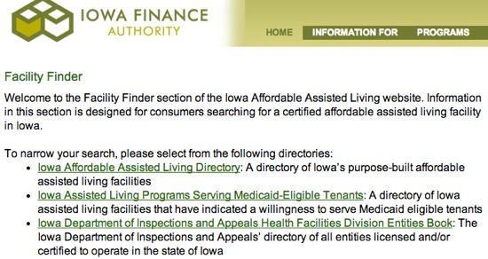 Affordable facility info for Iowa