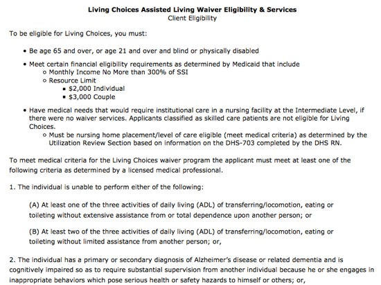 Arkansas Living Choices Assisted Living Waiver information