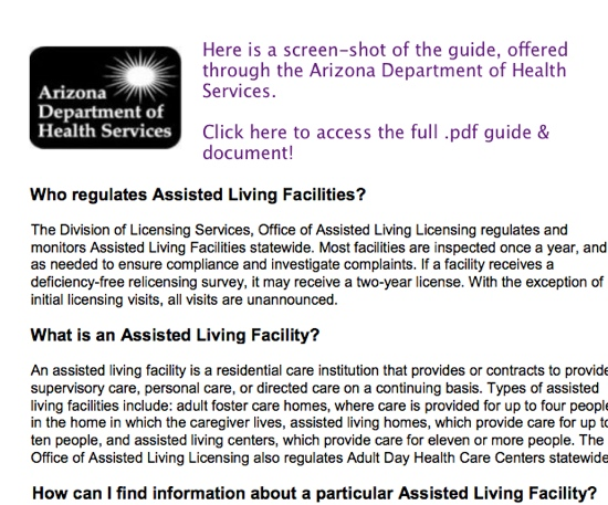 Arizona PDF Guide to Assisted Living
