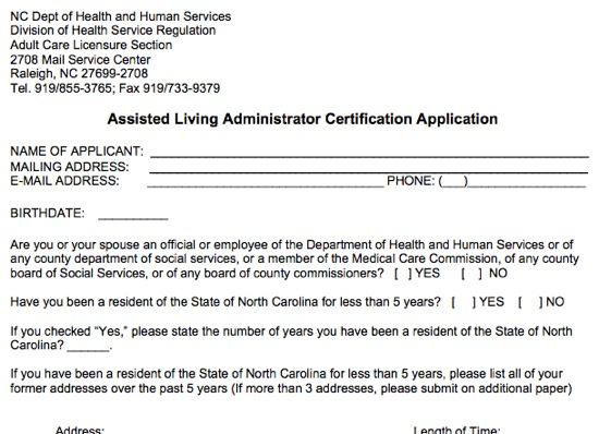 How To Apply: Assisted Living Administrator Certification in NC