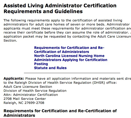 guidelines and requirements NC assisted living certification