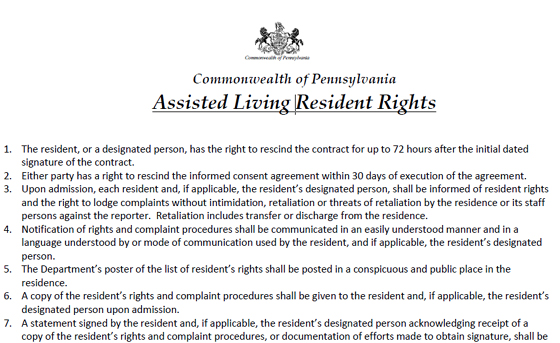 Assisted Living Resident Rights in Pennsylvania