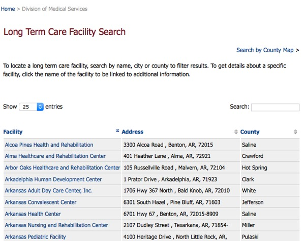 Arkansas Facility Search Example