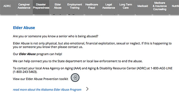 Alabama Elder Abuse - who to call
