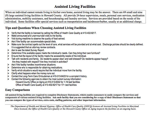 Assisted Living Details and Definition for Columbia