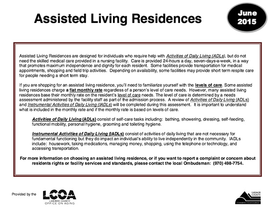 definition of assisted living by Larimer County