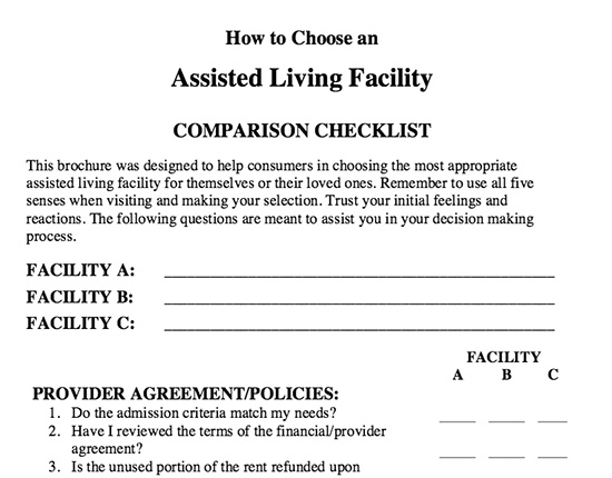 Research checklist example for assisted living