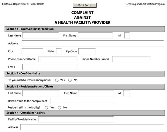 Printable Complaint Form California example