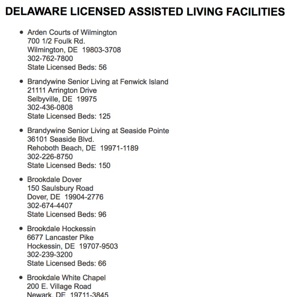 Delaware Licensed Assisted Living