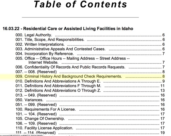 Idaho Regulation's Topics