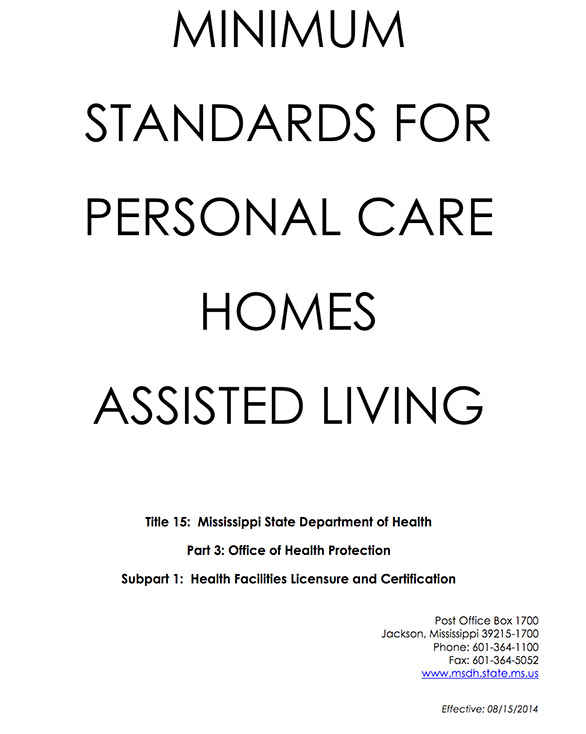Minimum assisted living standards