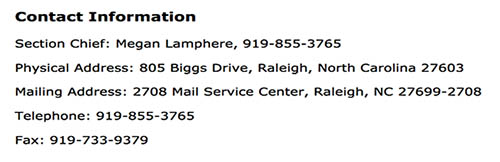Contact Info for NC