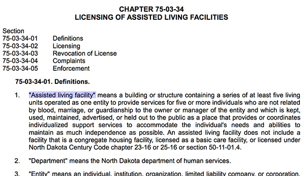 North Dakota assisted living definitions