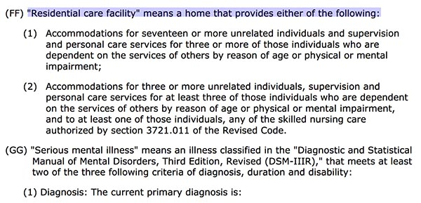 Residential Care definition for Ohio