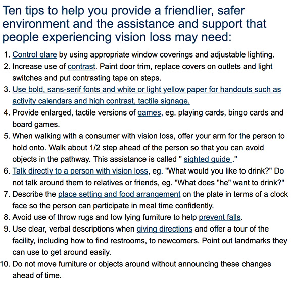 10 tips assisted living staff for blind