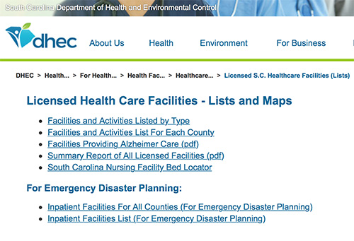Licensed Health Care Facilities