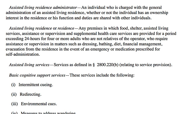 Assisted Living Residence defined PA