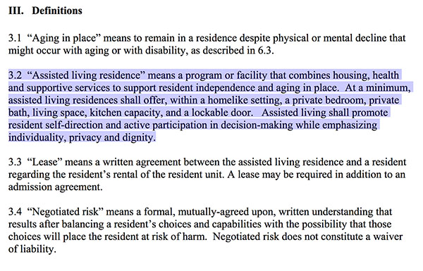 Vermont assisted living definitions
