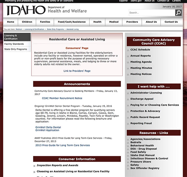 Health and Welfare of Idaho
